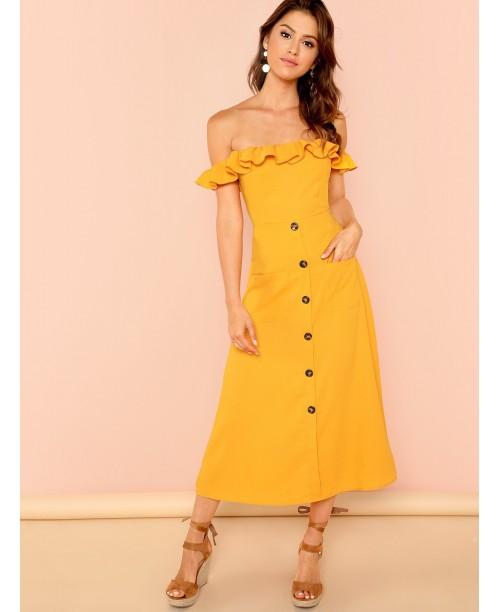 Off Shoulder Frilled Button Up Dress