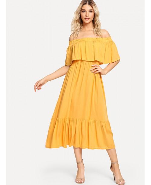 Off-Shoulder Ruffle Hem Dress