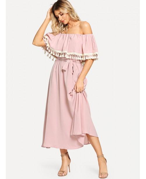 Off Shoulder Tassel Embellished Self Belted Dress