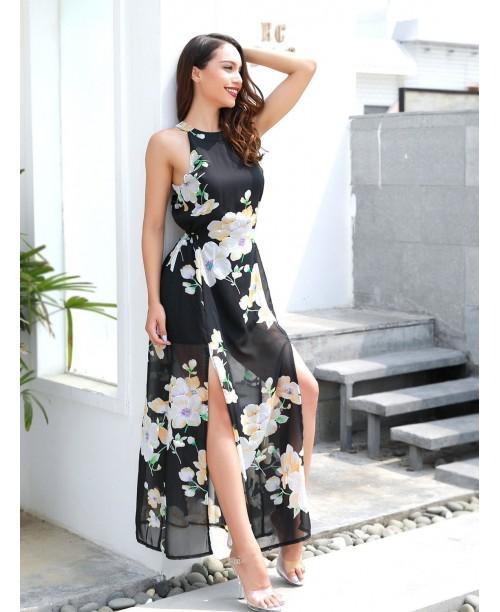 Open Back Split Side Floral Dress