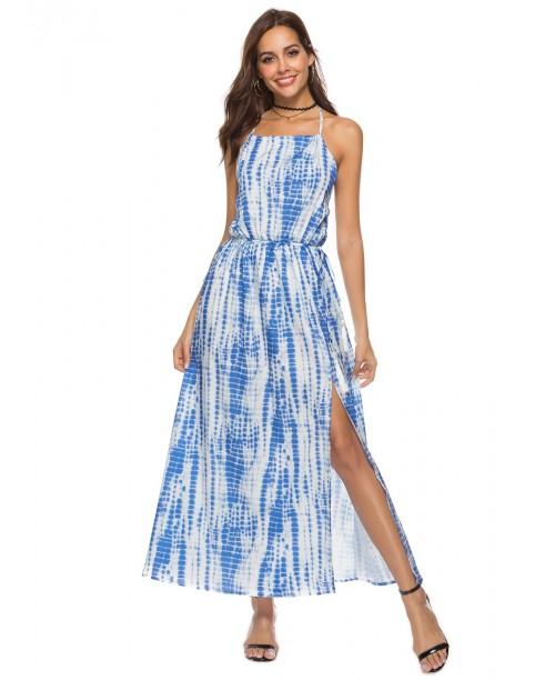 Open Back Tie Dye Halter Dress