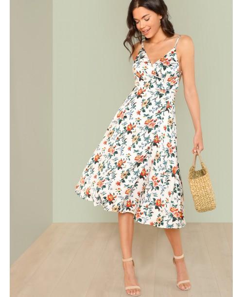 Open Back Wrap Cami Dress