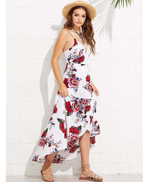 Plunging Neck Crisscross Neck Asymmetrical Floral Cami Dress