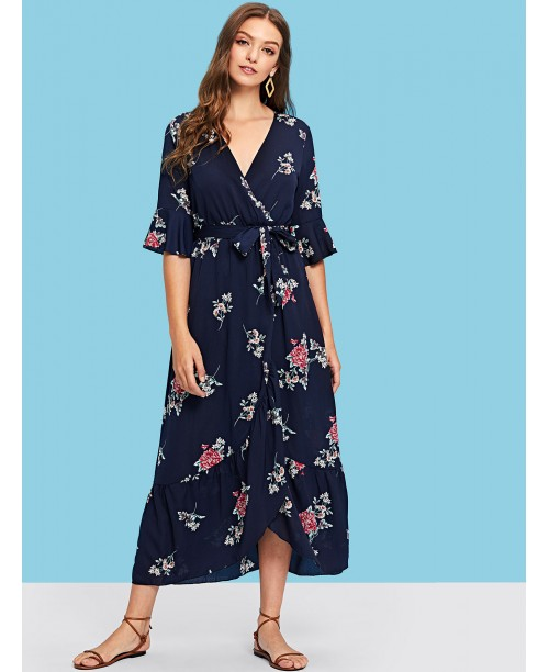 Plunging Neck Self Belted Floral Maxi Dress