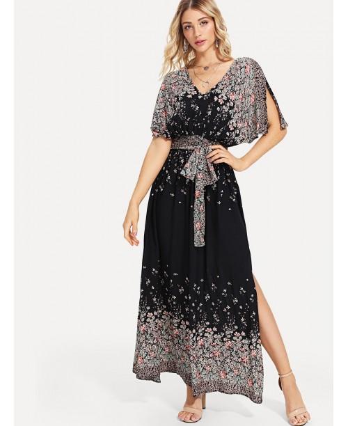 Plunging V-Neckline Tie Waist Maxi Dress