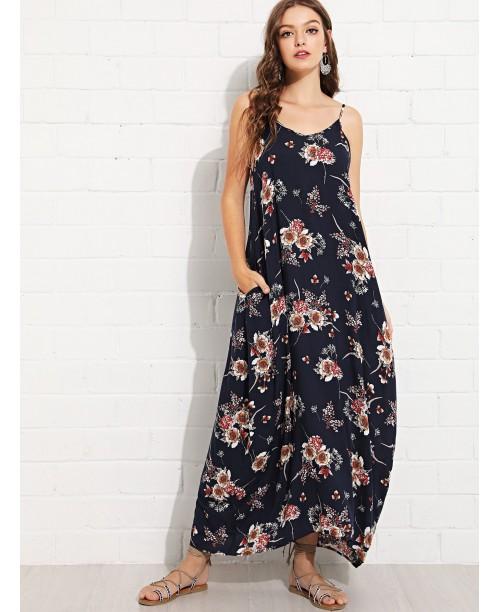 Pocket Side Floral Cami Dress