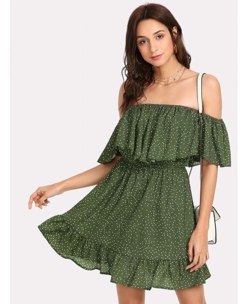 Polka Dot Ruffle Hem Bardot Dress