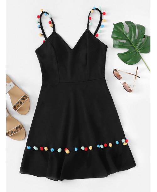 Pompom Embellished Fit and Flare Dress