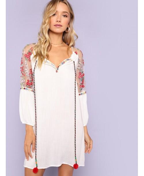 Pompom Tie Neck Embroidered Mesh Raglan Sleeve Dress