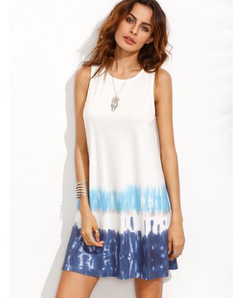 Print in White Sleeveless Shift Dress
