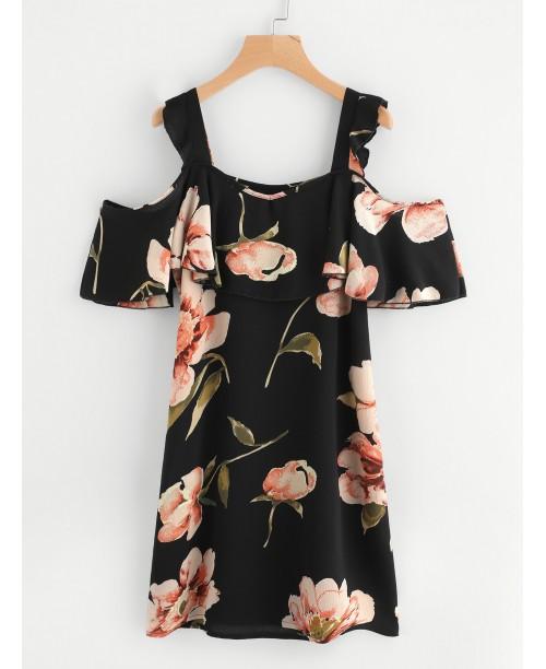 Random Botanical Print Flounce Layered Chiffon Dress