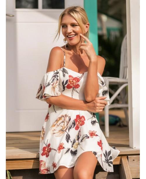 Random Florals Ruffle Dress