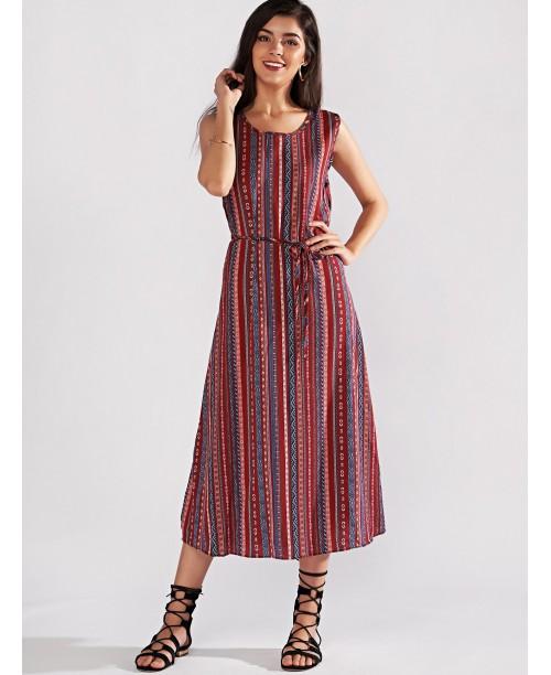 Random Print Belted Dress