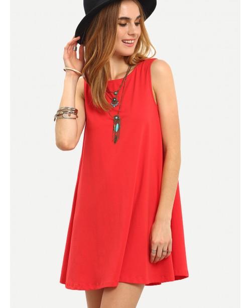 Red Sleeveless Tie Back Shift Dress
