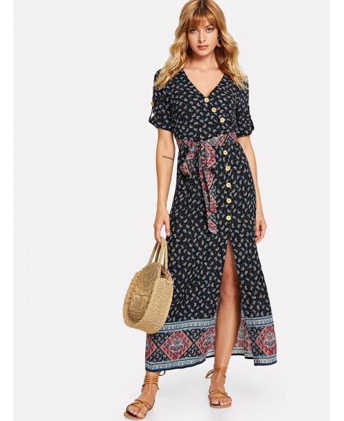 Roll Sleeve Asymmetric Buttoned Placket Paisley Dress