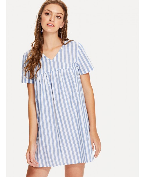 Roll Up Sleeve Striped Dress
