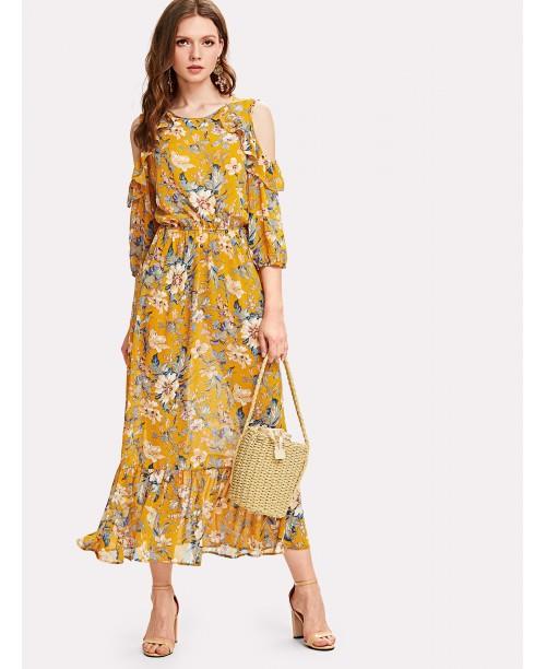 Ruffle Cold Shoulder & Hem Floral Dress