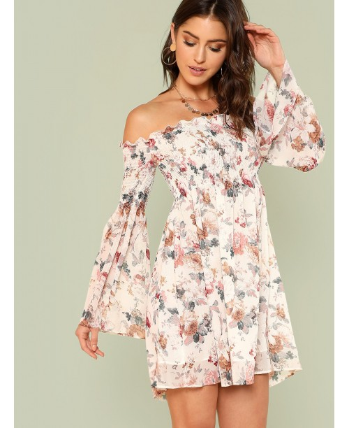 Trumpet Sleeve Floral Smock Dress