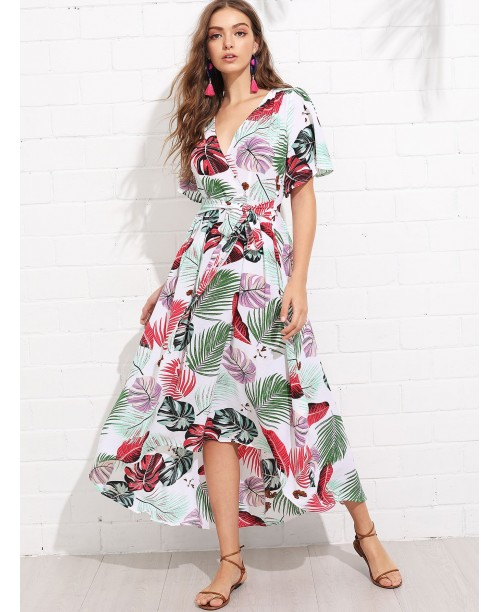 Trumpet Sleeve Surplice Neck Tropical Dress
