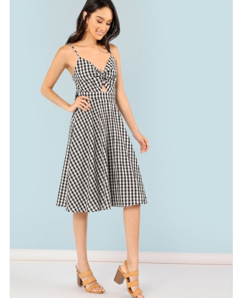 Twist Front Knot Back Gingham Cami Dress