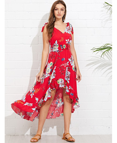 V-Back Ruffle High Low Floral Dress