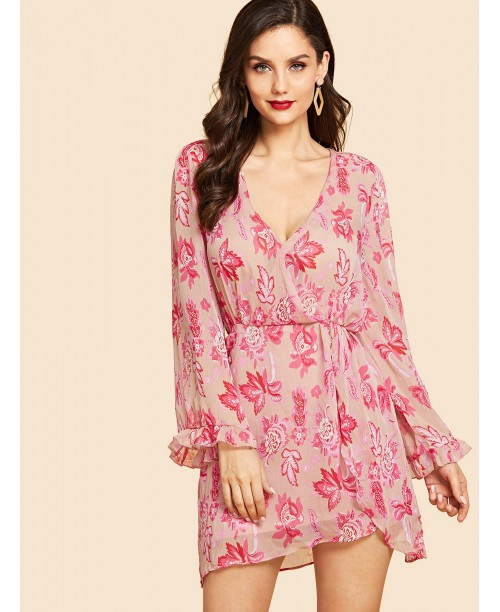 V Neck Rose Print Dress