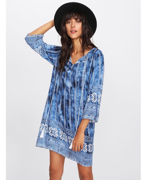 V Neckline All Over Printed Dress