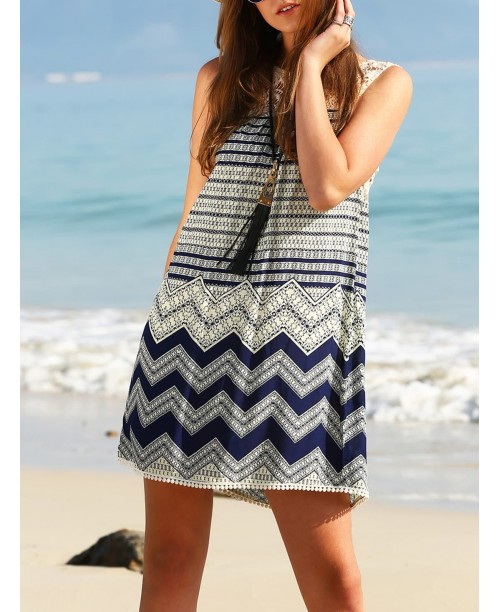 Wave Print Lace Yoke Shift Dress