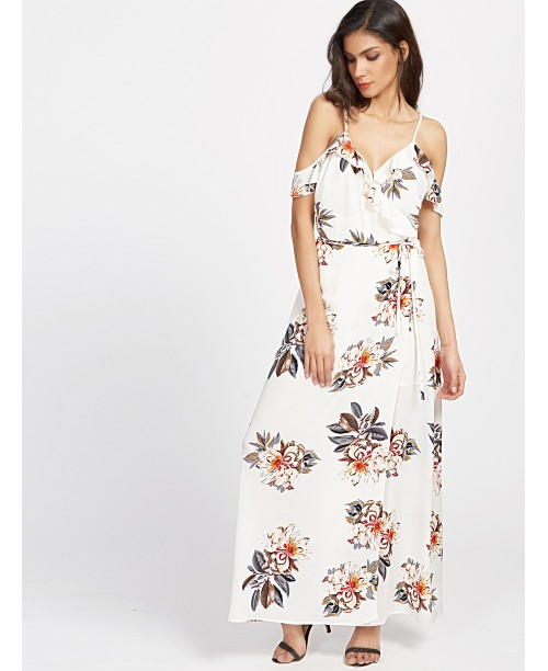 White Florals Cold Shoulder Ruffle Trim Wrap Dress