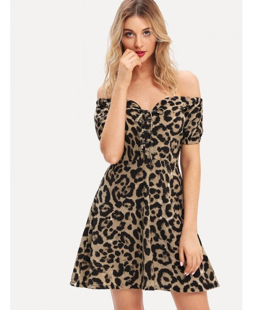 Bardot Lace Up Leopard Print Dress