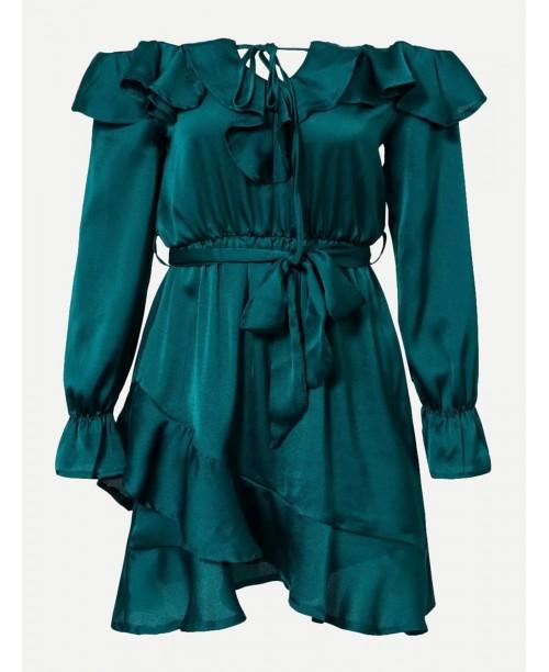 Bardot Ruffle Trim Overlap Hem Dress