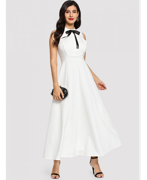 Bow Detail Pleated Front Fit & Flare Dress