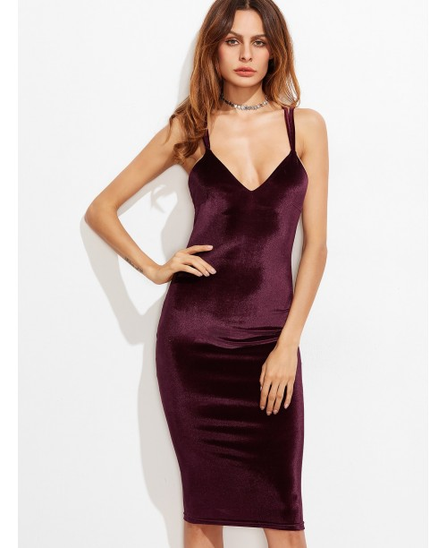 Burgundy Double Strap Crisscross Back Velvet Pencil Dress