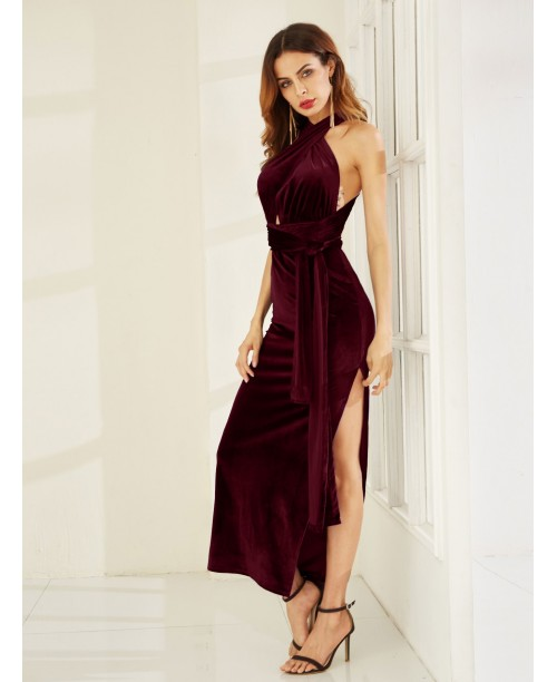 Burgundy High Slit Velvet Convertible Dress