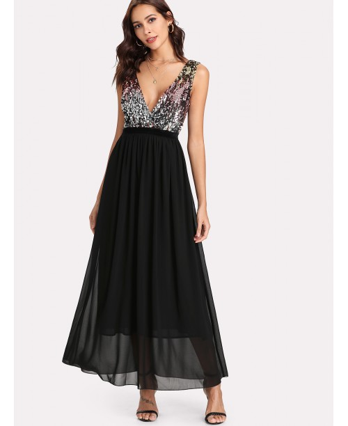 Contrast Sequin Bodice Dress