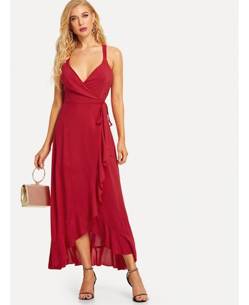 Crisscross Back Flounce Wrap Dress
