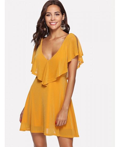 Dual V Neck Flounce Embellished Flowy Dress