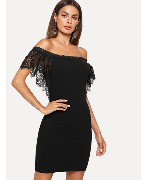 Floral Lace Trim Bardot Dress