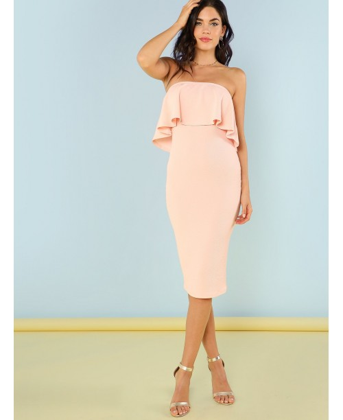 Flounce Bandeau Pencil Dress