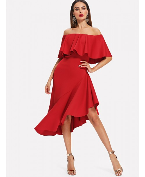 Flounce Foldover Asymmetrical Hem Dress