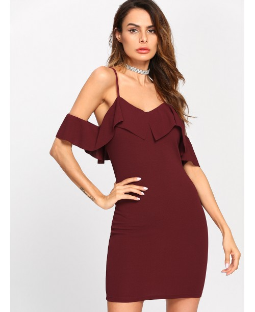 Flounce Trim Cold Shoulder Dress