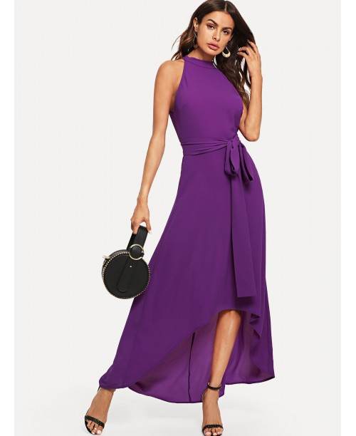 Halter Neck Belted Asymmetrical Hem Dress