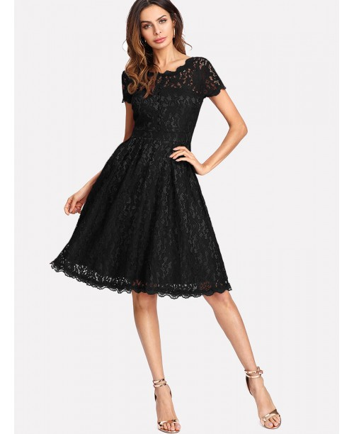 Hollow Out Lace Skater Dress
