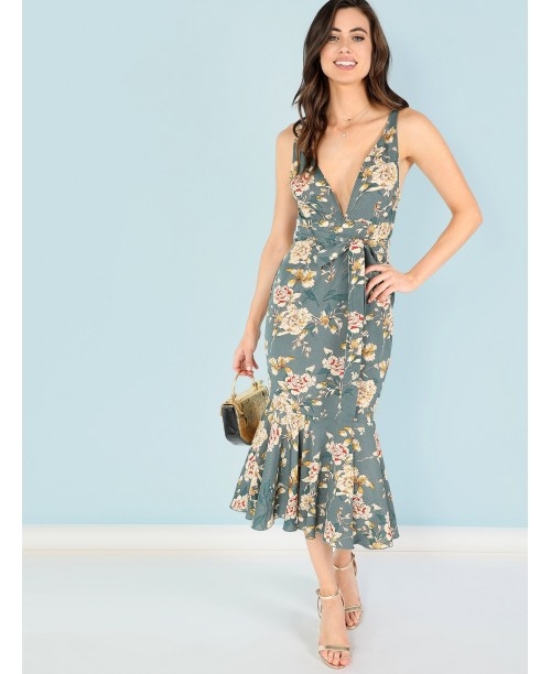 Knot Front Floral V-Neck Bodycon Dress