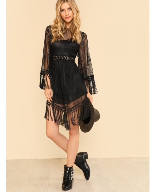 Lace Insert Tassel Detail Dress
