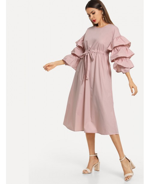 Layered Flounce Sleeve Drawstring Waist Dress