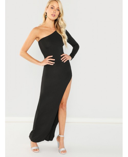 One Shoulder Slit Side Dress