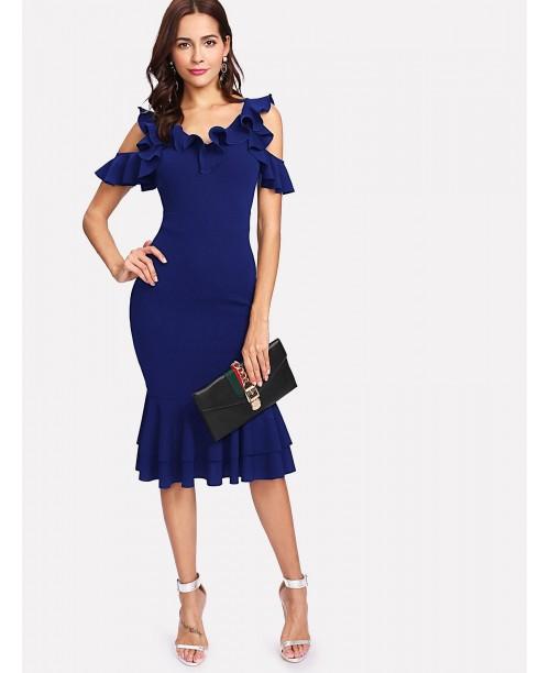 Ruffle Cold Shoulder Layered Hem Dress