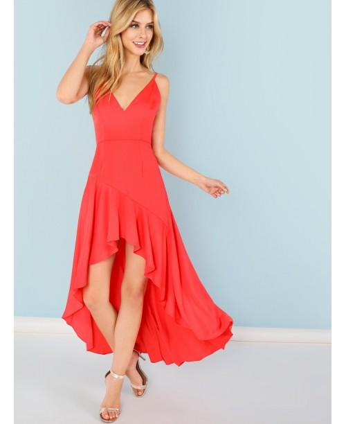 Ruffle Dip Hem Cami Dress