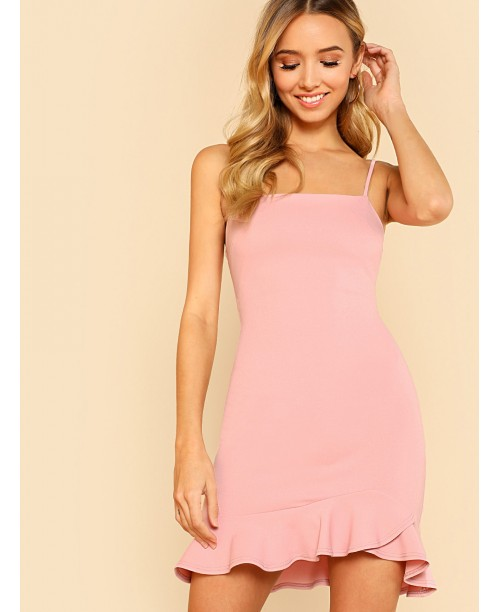 Ruffle Hem Open Back Cami Dress